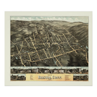Map of Bristol, Connecticut from 1878 Poster