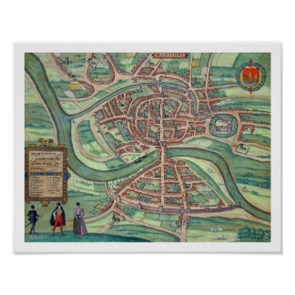 Map of Bristol, from 'Civitates Orbis Terrarum' by Poster