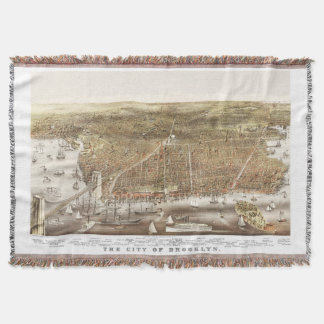 Map of Brooklyn NY in 1879 Throw Blanket