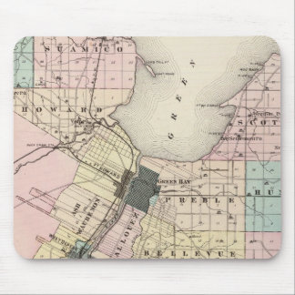 Map of Brown County, State of Wisconsin Mouse Pad
