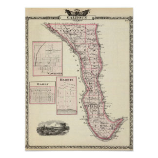 Map of Calhoun County, Winchester Poster