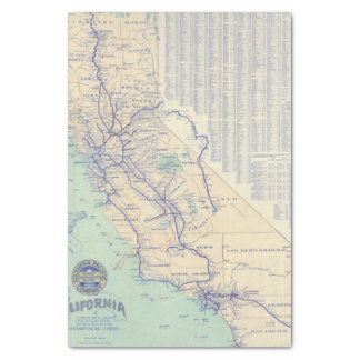 Map of California 4 Tissue Paper