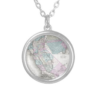 Map of California, Joseph Hutchins Colton Silver Plated Necklace