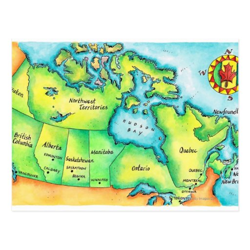 Map of Canada 2 Postcards