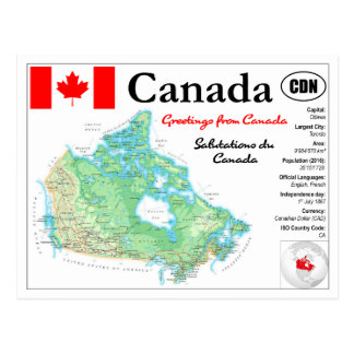 Map OF Canada with facts Postcard