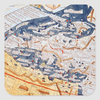 Map of central Europe, 1486 Square Sticker
