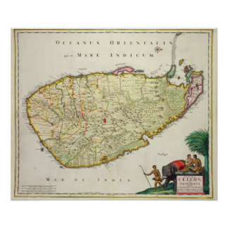 Map of Ceylon according to Nicolas Visscher Poster