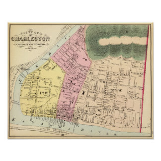 Map of Charleston, West Virginia Poster