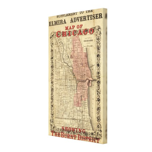 Map Of Chicago Showing The Burnt District Stretched Canvas Prints