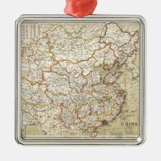 Map of China (circa 1900) Silver-Colored Square Ornament