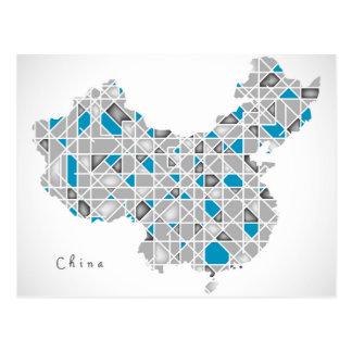 Map of China   Crystal Diamond Style Artwork Postcard