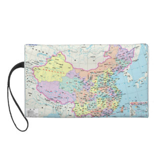 Map of China Wristlet Purses