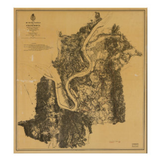 Map of Civil War Battlefield of Chattanooga (1875) Poster
