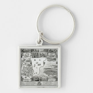 Map of Civil War England and a view of Prague Silver-Colored Square Keychain