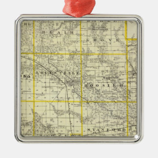 Map of Clay County, Flora and Louisville Silver-Colored Square Ornament