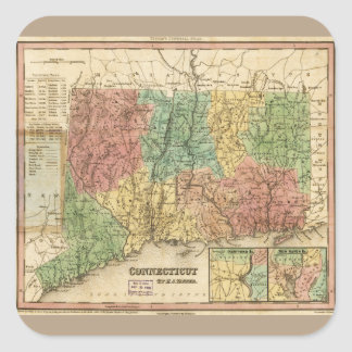 Map of Connecticut (1834) Square Sticker