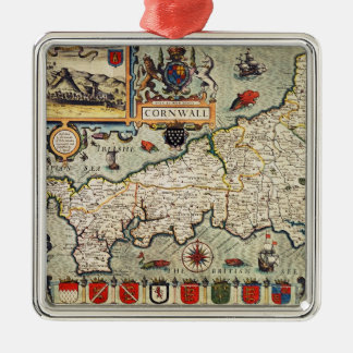 Map of Cornwall Metal Ornament