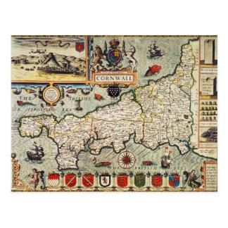 Map of Cornwall Postcard