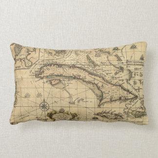 Map of Cuba and Surrounding Seas (1762) Lumbar Pillow