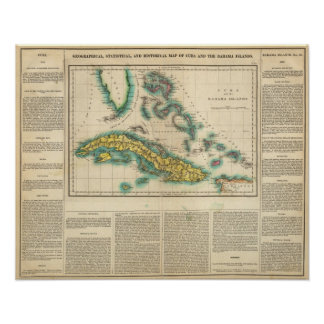 Map Of Cuba And The Bahama Islands Poster