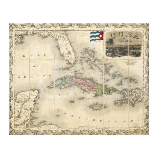 Map of Cuba by J.H. Colton (1851) Canvas Print