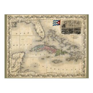 Map of Cuba by J.H. Colton (1851) Postcard