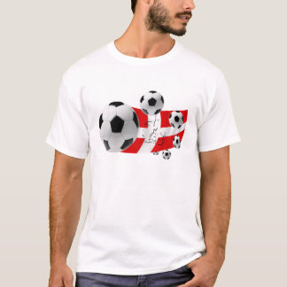 Map of Denmark soccer lovers flag and balls T-Shirt