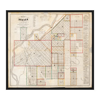 Map of Denver, Colorado (1871) Canvas Print