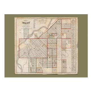 Map of Denver, Colorado (1871) Postcard