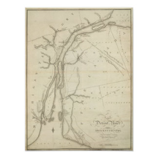 Map of Detroit River Poster