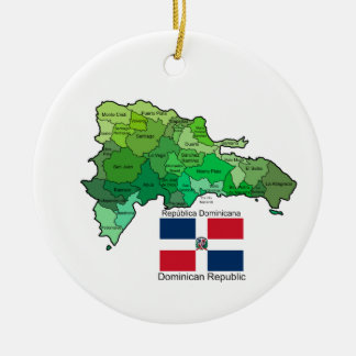 Map of Dominican Republic Round Ceramic Ornament