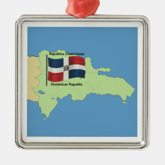 Map of Dominican Republic Silver-Colored Square Ornament