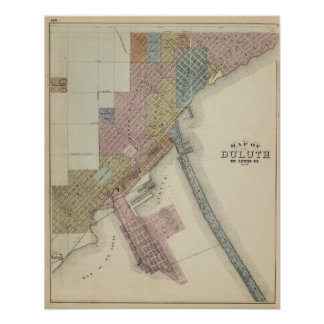 Map of Duluth, St. Louis County, Minnesota Poster