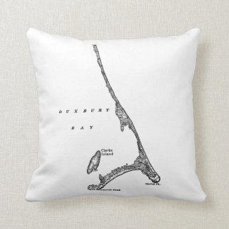 Map of Duxbury Beach Saquish Massachusetts Throw Pillow
