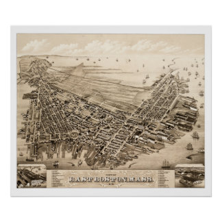 Map of East Boston, Massachusetts in 1879 Poster