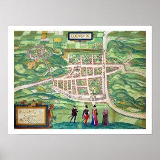 Map of Edinburgh, from 'Civitates Orbis Terrarum' Poster