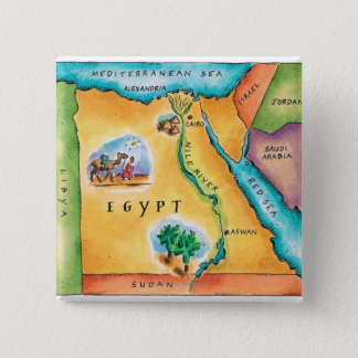 Map of Egypt 2 Inch Square Button
