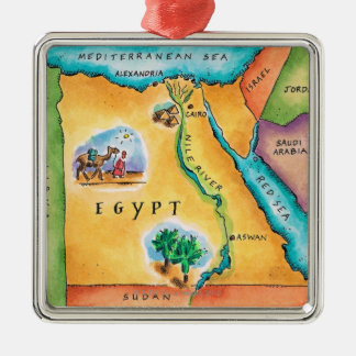Map of Egypt Silver-Colored Square Ornament