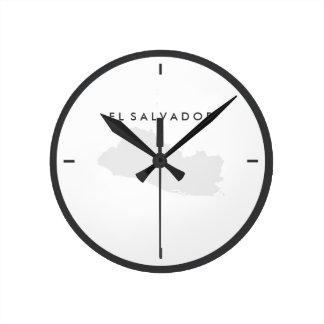 Map of El Salvador Round Clock