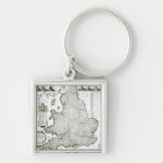 Map of England and Wales, 1644 Silver-Colored Square Keychain