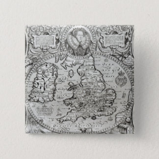 Map of England during the reign of 2 Inch Square Button