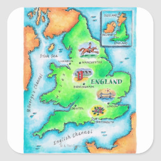 Map of England Square Sticker