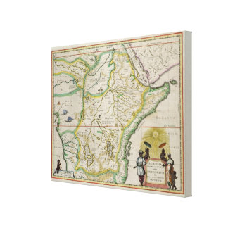 Map of Ethiopia showing five African states Canvas Print