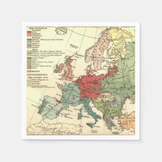 Map of Europe Vintage Antique Paper Napkins