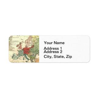 Map of Europe Vintage Antique Return Address Label