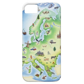 Map of Europe with illustrations of famous iPhone 5 Case