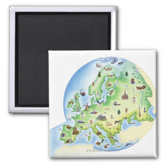 Map of Europe with illustrations of famous Magnet
