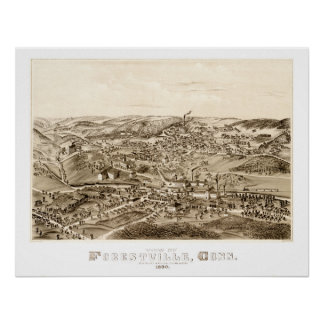 Map of Forestville, CT from 1880 Poster