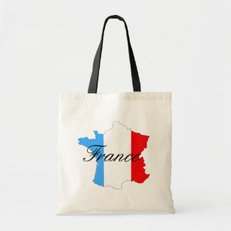Map of France in Red White and Blue Tote Bag