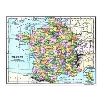 Map of France - Postcard